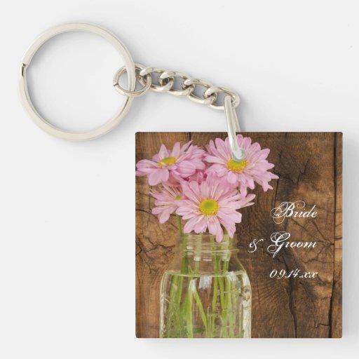 Mason Jar Pink Daisies Country Wedding Keychain