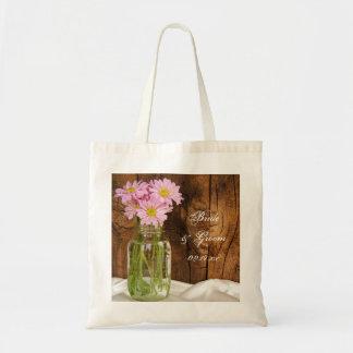 Mason Jar Pink Daisies Country Wedding Tote Bag