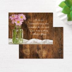 Mason Jar Pink Daisies Wedding Charity Favor Card at Zazzle