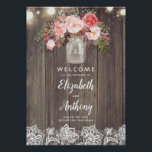 "Mason Jar Pink Floral Wedding Welcome Sign<br><div class=""desc"">Baby&#39;s Breath and Pink Flowers Rustic Mason Jar Wedding Welcome Sign Poster</div>"