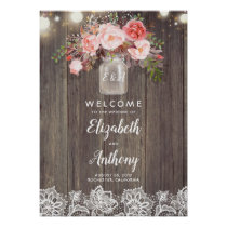 Mason Jar Pink Floral Wedding Welcome Sign