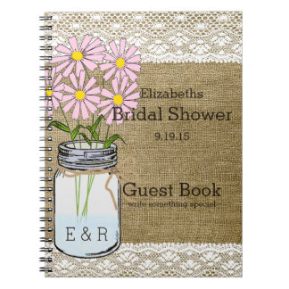 Mason Jar Pink Flowers Bridal Shower Guest Book |