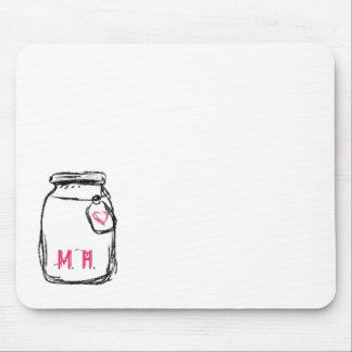 Mason Jar & Pink Heart Initials Mouse Pad