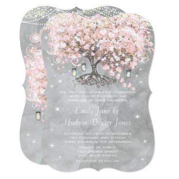 samack Mason Jar Pink Heart Leaf Tree on Gray Watercolor Card