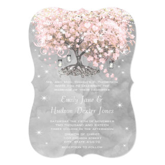 Mason Jar Pink Heart Leaf Tree on Gray Watercolor Card