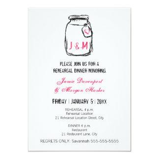 Mason Jar & Pink Heart Rehearsal Dinner Invite
