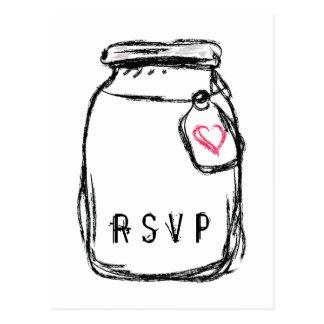 Mason Jar & Pink Heart RSVP Postcard