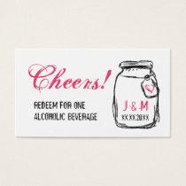 Mason Jar & Pink Heart Wedding Drink Ticket