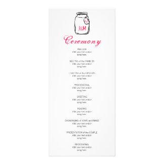 Mason Jar Pink Heart Wedding Program Custom Rack Cards