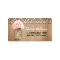 mason jar pink hydrangea address label for wedding