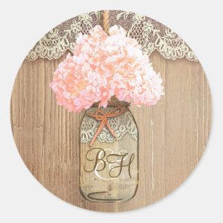 Mason Jar Pink Hydrangea Floral Rustic Wedding Classic Round Sticker