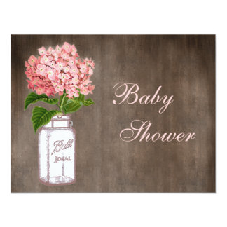 Mason Jar & Pink Hydrangea Rustic Baby Shower Card