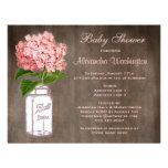 Mason Jar & Pink Hydrangea Rustic Baby Shower Invitations