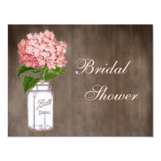 Mason Jar & Pink Hydrangea Rustic Bridal Shower Card