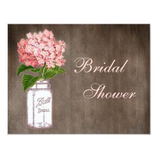 Mason Jar & Pink Hydrangea Rustic Bridal Shower 4.25x5.5 Paper Invitation Card