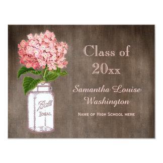 "Mason Jar & Pink Hydrangea Rustic Graduation Party 4.25"" X 5.5"" Invitation Card"