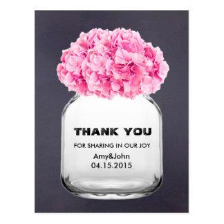 Mason jar pink hydrangea thank you note hydrangea5 postcard
