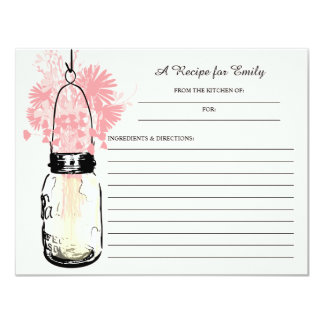 Mason Jar & Pink Wildflowers Recipe Card