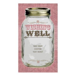Mason Jar Pink Wishing Well Business Card