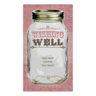 Mason Jar Pink Wishing Well Double-Sided Standard Business Cards (Pack Of 100)