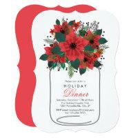 Mason Jar Poinsettia Holiday Dinner Invitation