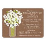 Mason Jar, Poppies, & Burlap Rustic Bridal Shower 5x7 Paper Invitation Card