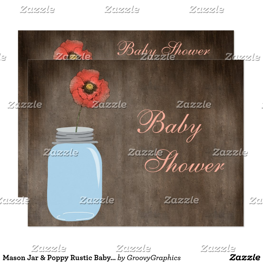 Mason Jar & Poppy Rustic Baby Girl Shower Invitation