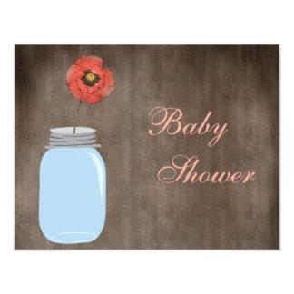 Mason Jar & Poppy Rustic Baby Girl Shower 4.25x5.5 Paper Invitation Card