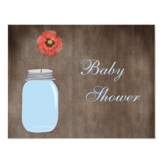 Mason Jar & Poppy Rustic Baby Shower 4.25x5.5 Paper Invitation Card