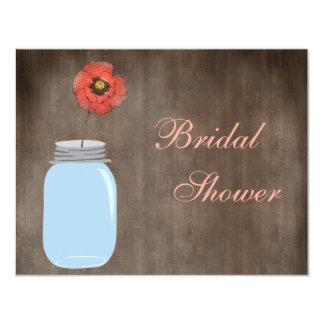 Mason Jar & Poppy Rustic Bridal Shower 4.25x5.5 Paper Invitation Card