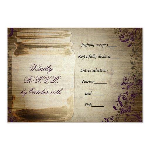 Mason Jar Purple and Brown Wedding RSVP
