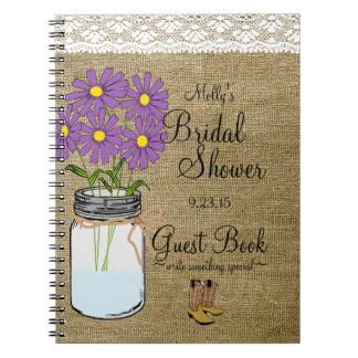 Mason Jar Purple Flowers Bridal Shower Guest Book- Notebook