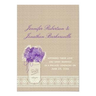 Mason Jar Purple Flowers Lace Post Wedding Invitation