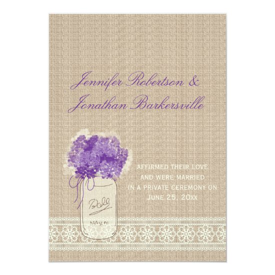 Mason Jar Purple Flowers Lace Post Wedding Invitation