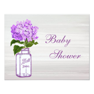 Mason Jar & Purple Hydrangea Chic Grey Baby Shower Card