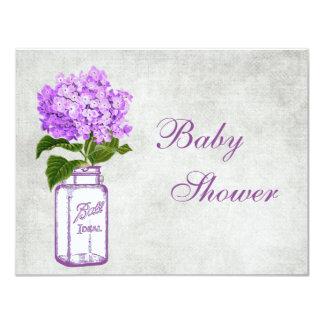 Mason Jar & Purple Hydrangea Chic Grey Baby Shower Card