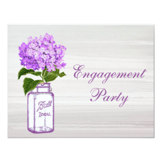 Mason Jar & Purple Hydrangea Chic Grey Engagement Card