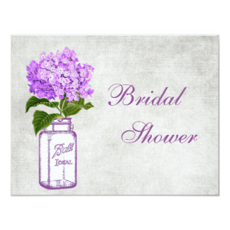 Mason Jar & Purple Hydrangea Grey Bridal Shower Card