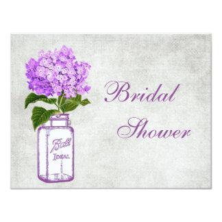 Mason Jar & Purple Hydrangea Grey Bridal Shower Card