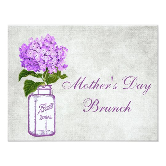 Mason Jar & Purple Hydrangea Mother's Day Brunch Card