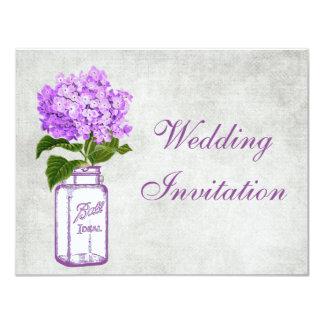 Mason Jar & Purple Hydrangea Shabby Chic Wedding Card