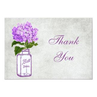 Mason Jar & Purple Hydrangea Thank You Wedding Card