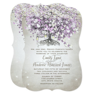 Mason Jar Purple Lavender Heart Leaf Tree Wedding Card