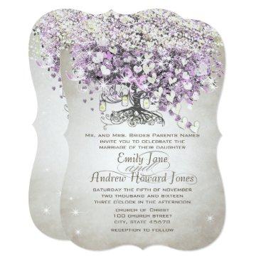 Valentines Themed Mason Jar Purple Lavender Heart Leaf Tree Wedding Card