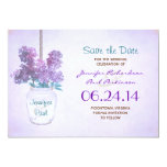 mason jar & purple lilacs save the date card