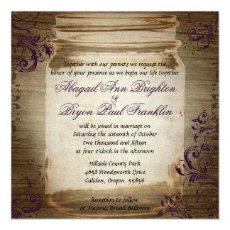 Mason Jar Purple Square Wedding Invitation
