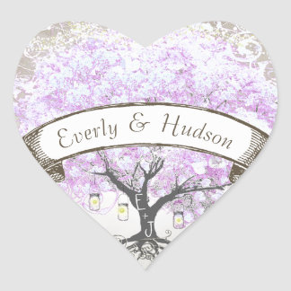Mason Jar Radiant Lavender Leaf Tree  Wedding Seal