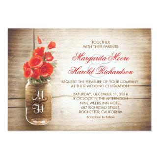 "Mason jar & red color flowers wedding invites 5"" x 7"" invitation card"