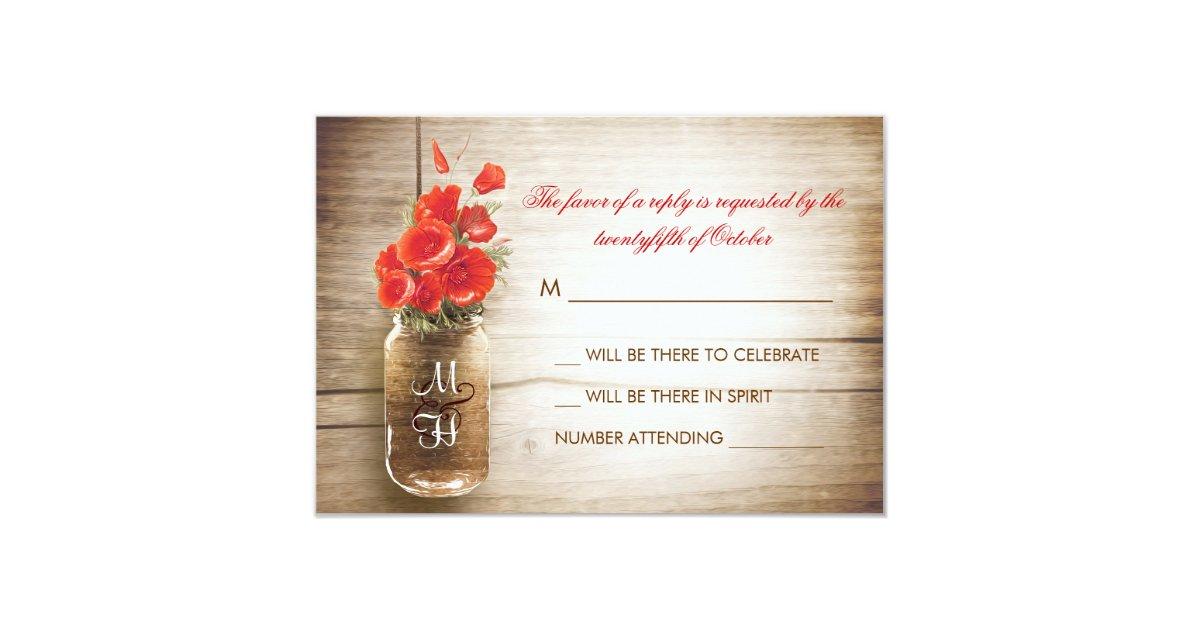 Mason jar & red flowers wedding RSVP card Zazzle