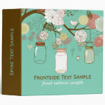 Mason Jar & Retro Flowers Bridal Shower Vinyl Binders
